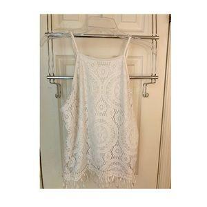 Women's white crochet tank top